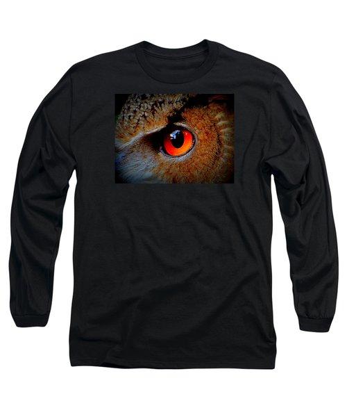 Horned Owl Eye Long Sleeve T-Shirt by David Mckinney