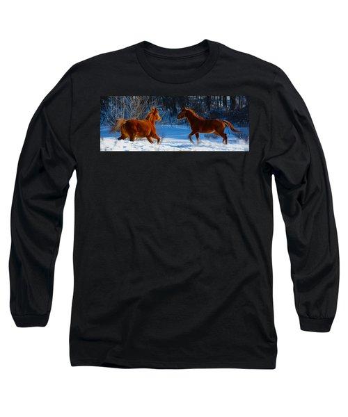 Horses At Play Long Sleeve T-Shirt