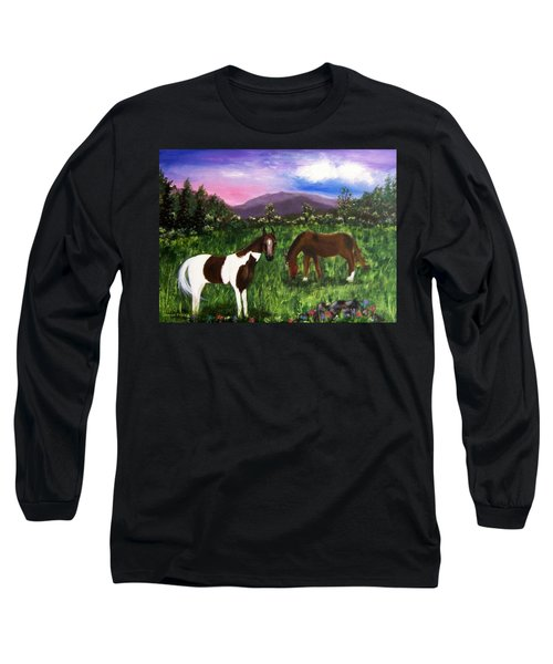 Long Sleeve T-Shirt featuring the painting Horses by Jamie Frier