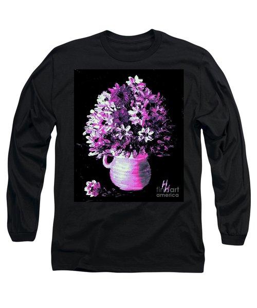 Hot Pink Flowers Long Sleeve T-Shirt by Hazel Holland