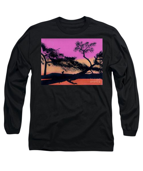 Long Sleeve T-Shirt featuring the drawing Hot Pink Sunset by D Hackett