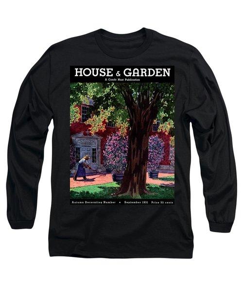 House & Garden Cover Illustration Of A Gardener Long Sleeve T-Shirt