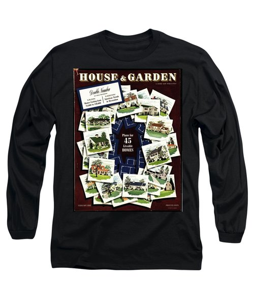 House And Garden Cover Featuring A Collage Long Sleeve T-Shirt