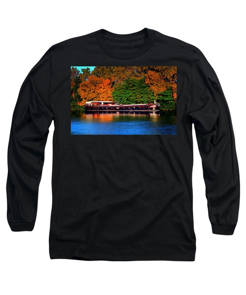 Long Sleeve T-Shirt featuring the photograph House Boat River Barge In France by Tom Prendergast
