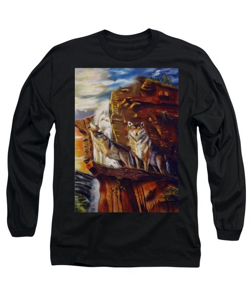 Long Sleeve T-Shirt featuring the painting Howling For The Nightlife  by Thomas J Herring