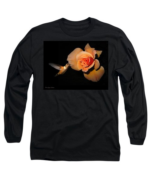 Hummingbird And Orange Rose Long Sleeve T-Shirt