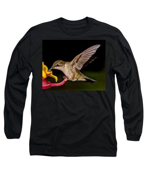Ruby Throated Hummingbird Long Sleeve T-Shirt by Brian Caldwell