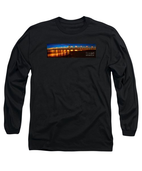 Huntington Beach Pier Twilight Panoramic Long Sleeve T-Shirt