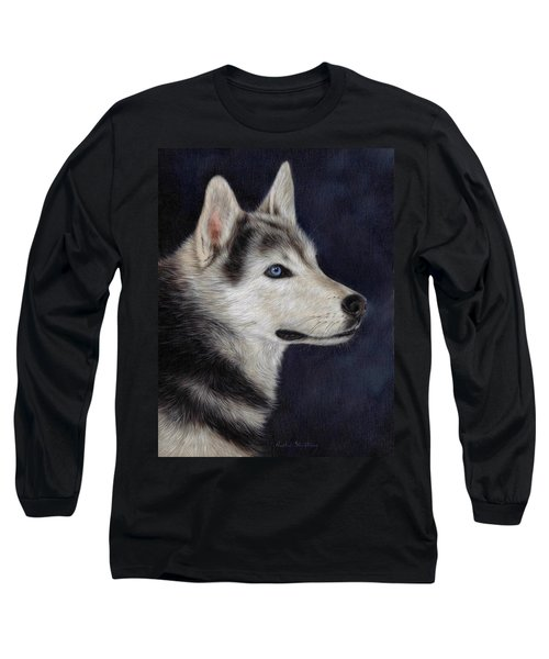 Husky Portrait Painting Long Sleeve T-Shirt
