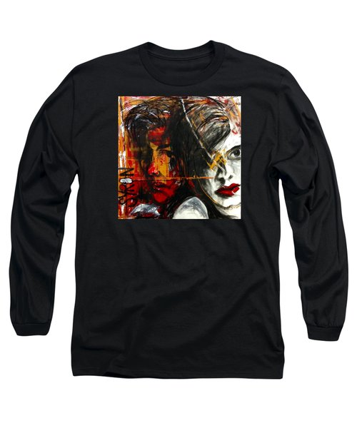 Long Sleeve T-Shirt featuring the drawing I Feel You by Helen Syron