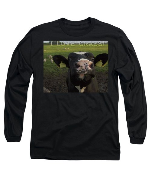 Long Sleeve T-Shirt featuring the photograph I Love Grass --said The Cow. by Luc Van de Steeg