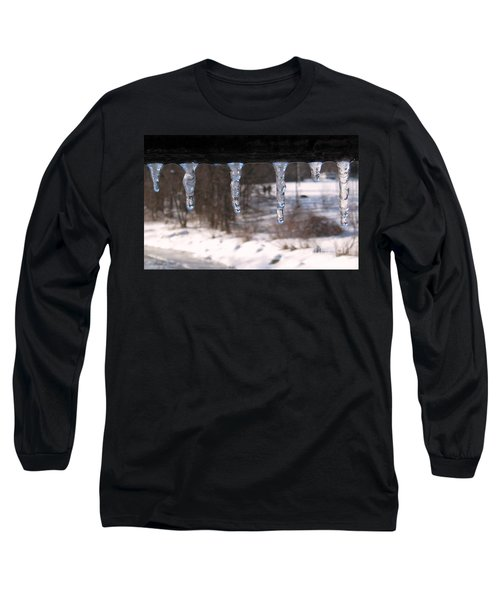 Long Sleeve T-Shirt featuring the photograph Icicles On The Bridge by Nina Silver