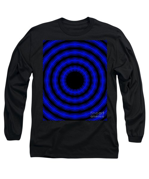 Long Sleeve T-Shirt featuring the painting In Circles- Blue Version by Roz Abellera Art