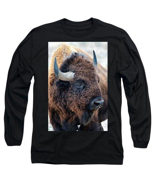 Bison The Mighty Beast Bison Das Machtige Tier North American Wildlife By Olena Art Long Sleeve T-Shirt