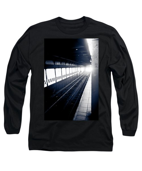 Long Sleeve T-Shirt featuring the photograph Incoming At The Subway - New York City by Peta Thames