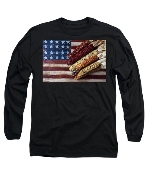 Indian Corn On American Flag Long Sleeve T-Shirt