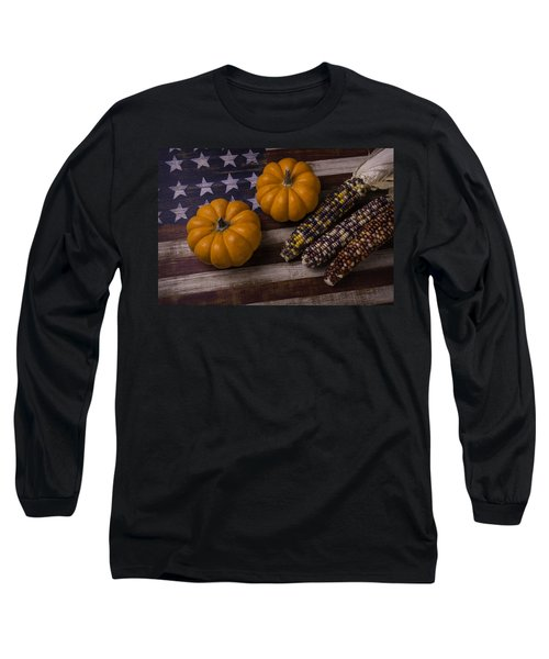 Indian Corn On Old Flag Long Sleeve T-Shirt