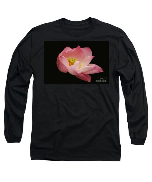 Indian Lotus On Black --- Sacred Light Long Sleeve T-Shirt