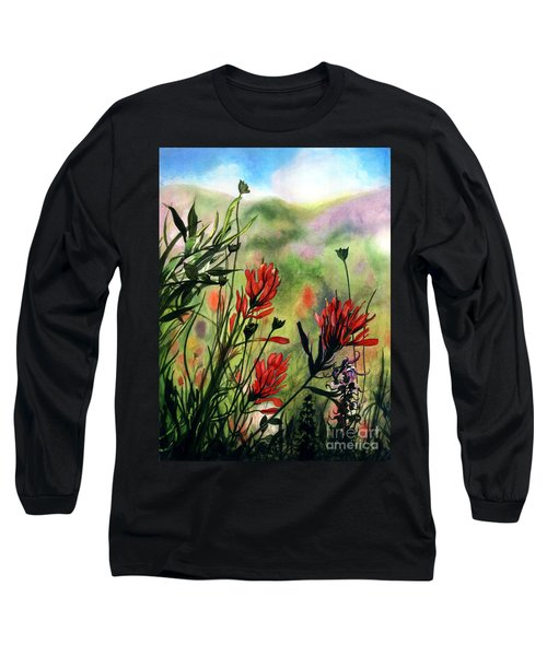 Indian Paint Brush Long Sleeve T-Shirt by Barbara Jewell