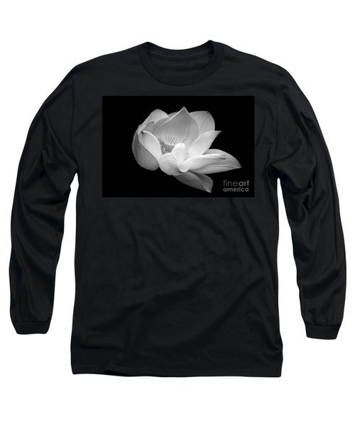Indian Sacred Lotus In Black And White Long Sleeve T-Shirt