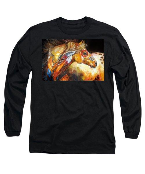 Indian War Horse Golden Sun Long Sleeve T-Shirt