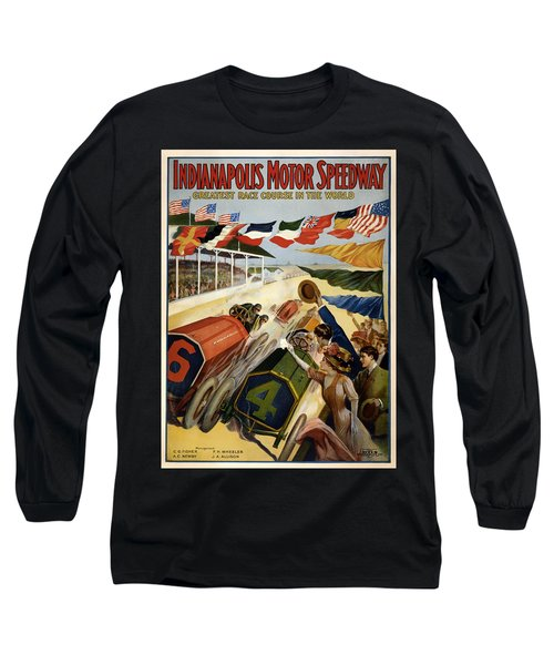 Indianapolis Motor Speedway - Vintage Lithograph Long Sleeve T-Shirt