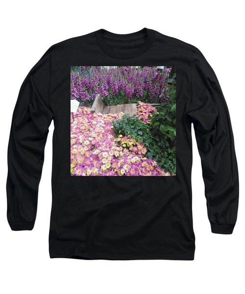 Long Sleeve T-Shirt featuring the photograph Interior Decorations Butterfly Gardens Vegas Golden Yellow Purple Flowers by Navin Joshi