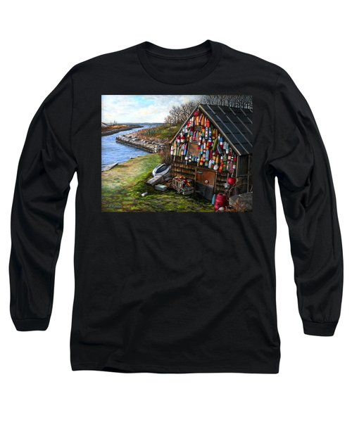Ipswich Bay Wooden Buoys Long Sleeve T-Shirt by Eileen Patten Oliver