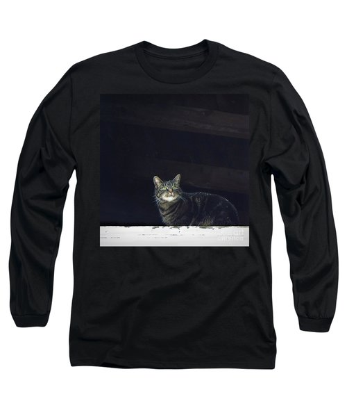 Long Sleeve T-Shirt featuring the photograph It's Snowing -- Looking Out The Barn Window by Joy Nichols