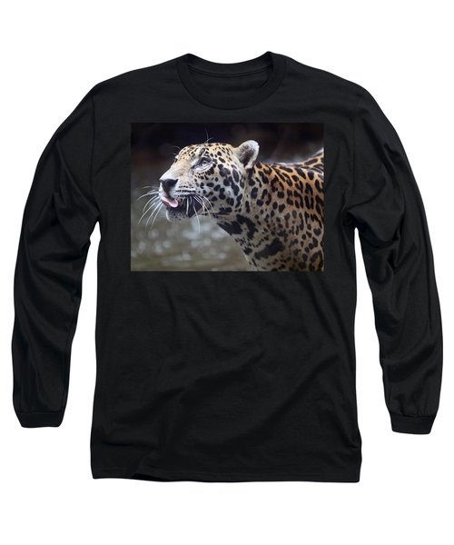 Long Sleeve T-Shirt featuring the photograph Jaguar Sticking Out Tongue by Shoal Hollingsworth