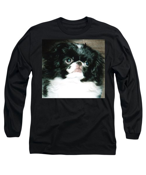 Long Sleeve T-Shirt featuring the photograph Japanese Chin Puppy Portrait by Jim Fitzpatrick