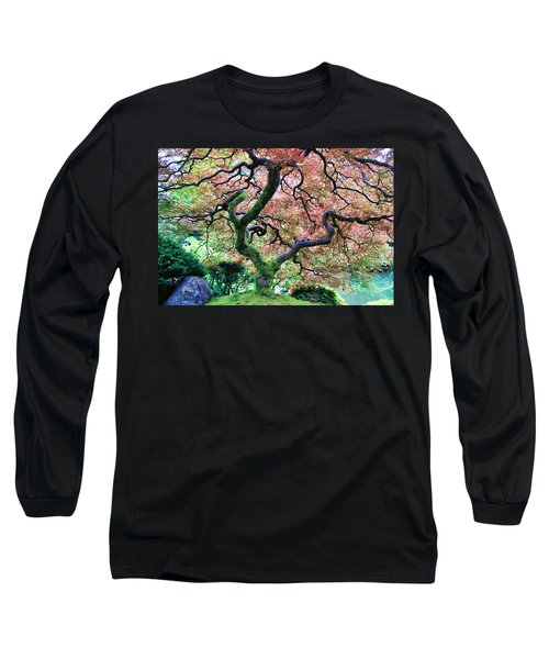 Japanese Tree In Garden Long Sleeve T-Shirt by Athena Mckinzie