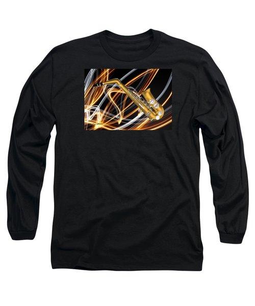 Jazz Saxaphone  Long Sleeve T-Shirt by Louis Ferreira