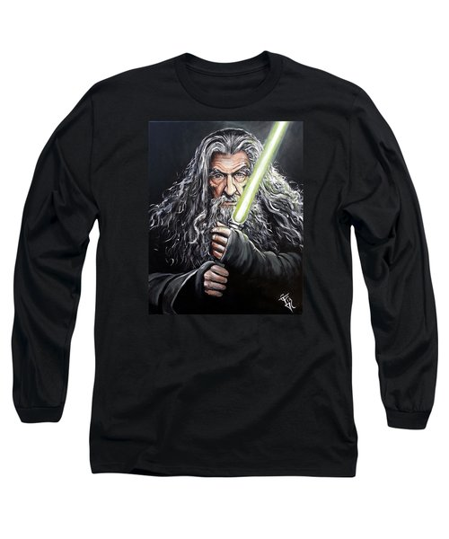 Jedi Master Gandalf Long Sleeve T-Shirt by Tom Carlton