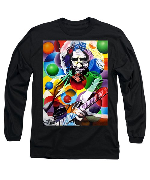 Jerry Garcia In Bubbles Long Sleeve T-Shirt by Joshua Morton