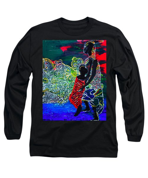 Long Sleeve T-Shirt featuring the painting Jesus Walking On Water by Gloria Ssali