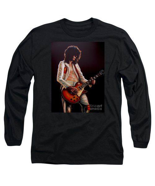 Jimmy Page In Led Zeppelin Painting Long Sleeve T-Shirt by Paul Meijering