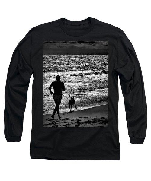 Joggin Wit Dad Long Sleeve T-Shirt by Robert McCubbin