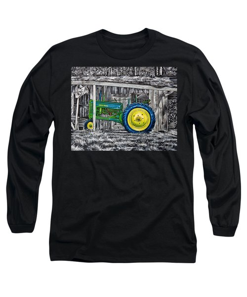 Long Sleeve T-Shirt featuring the painting John Deere Green by Craig T Burgwardt