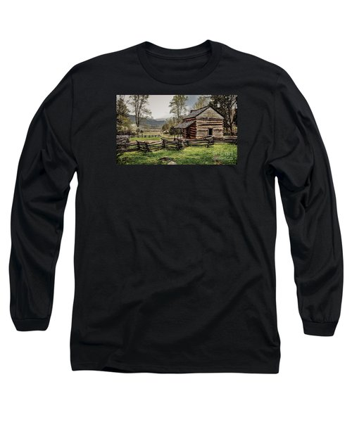 Long Sleeve T-Shirt featuring the photograph John Oliver's Cabin In Spring. by Debbie Green