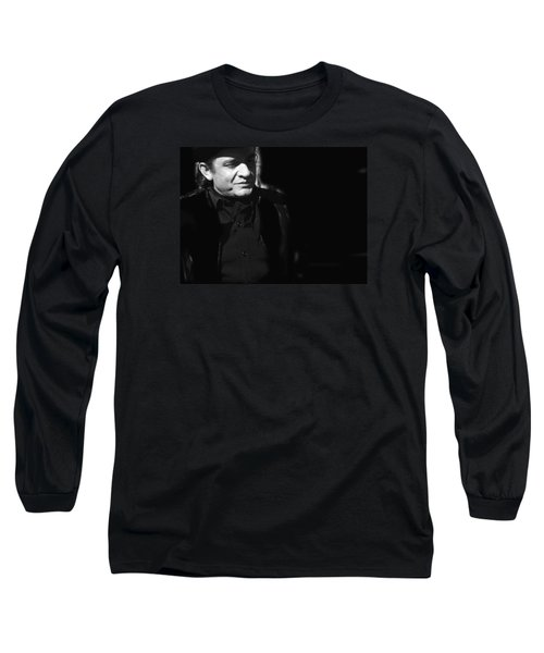Long Sleeve T-Shirt featuring the photograph Johnny Cash Film Noir Homage Old Tucson Arizona 1971 by David Lee Guss