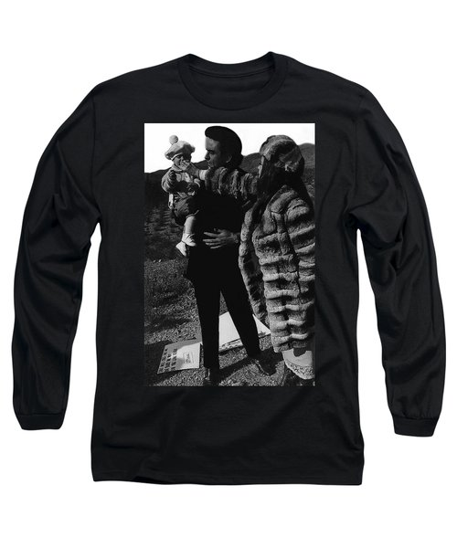 Long Sleeve T-Shirt featuring the photograph Johnny Cash Flesh And Blood Music Homage Cash Family Old Tucson Az by David Lee Guss