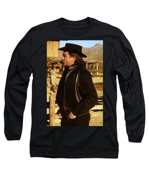 Long Sleeve T-Shirt featuring the photograph Johnny Cash Golden Gate Peak Old Tucson Arizona 1971 by David Lee Guss