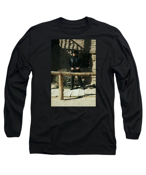 Long Sleeve T-Shirt featuring the photograph Johnny Cash Gunfighter Hitching Post Old Tucson Arizona 1971 by David Lee Guss