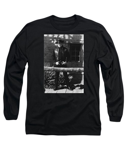 Long Sleeve T-Shirt featuring the photograph Johnny Cash Gunslinger Hitching Post Old Tucson Arizona 1971  by David Lee Guss
