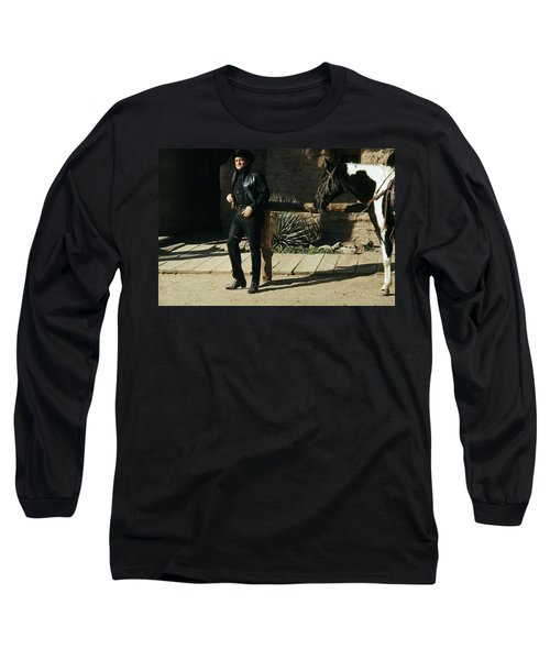Long Sleeve T-Shirt featuring the photograph Johnny Cash Horse Old Tucson Arizona 1971 by David Lee Guss