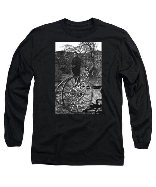 Long Sleeve T-Shirt featuring the photograph Johnny Cash  Meditating Wagon Wheel Graveyard Old Tucson Arizona 1971 by David Lee Guss