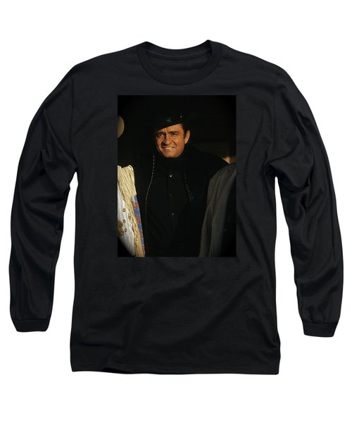 Long Sleeve T-Shirt featuring the photograph Johnny Cash Music Homage Solitary Man Flanked By Chill Wills  Andy Devine Old Tucson Az 1971 by David Lee Guss