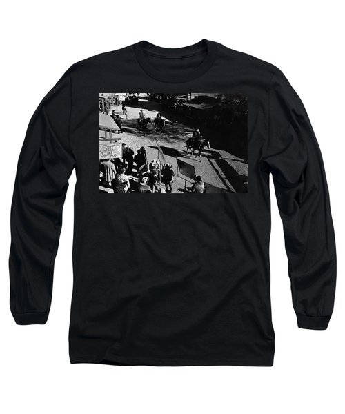 Long Sleeve T-Shirt featuring the photograph Johnny Cash Riding Horse Filming Promo Main Street Old Tucson Arizona 1971 by David Lee Guss