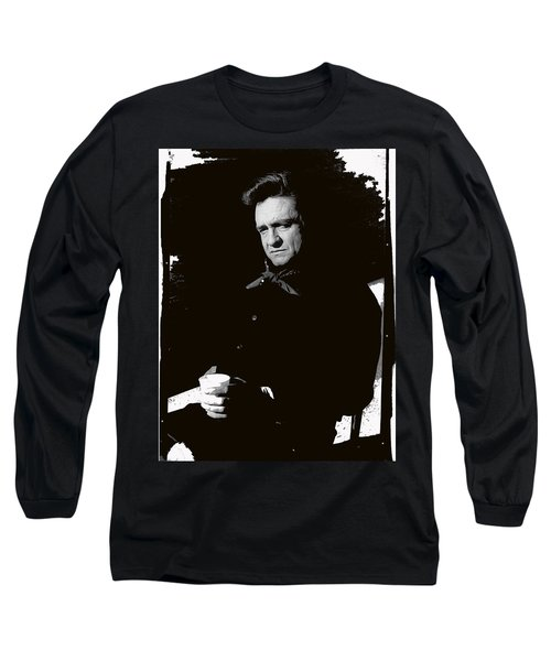 Long Sleeve T-Shirt featuring the photograph Johnny Cash Sitting With Cup  Old Tucson Arizona 1971-2009 by David Lee Guss